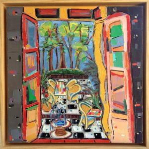 Open Window: In Nice 18x18, 19.5x19.5 framed