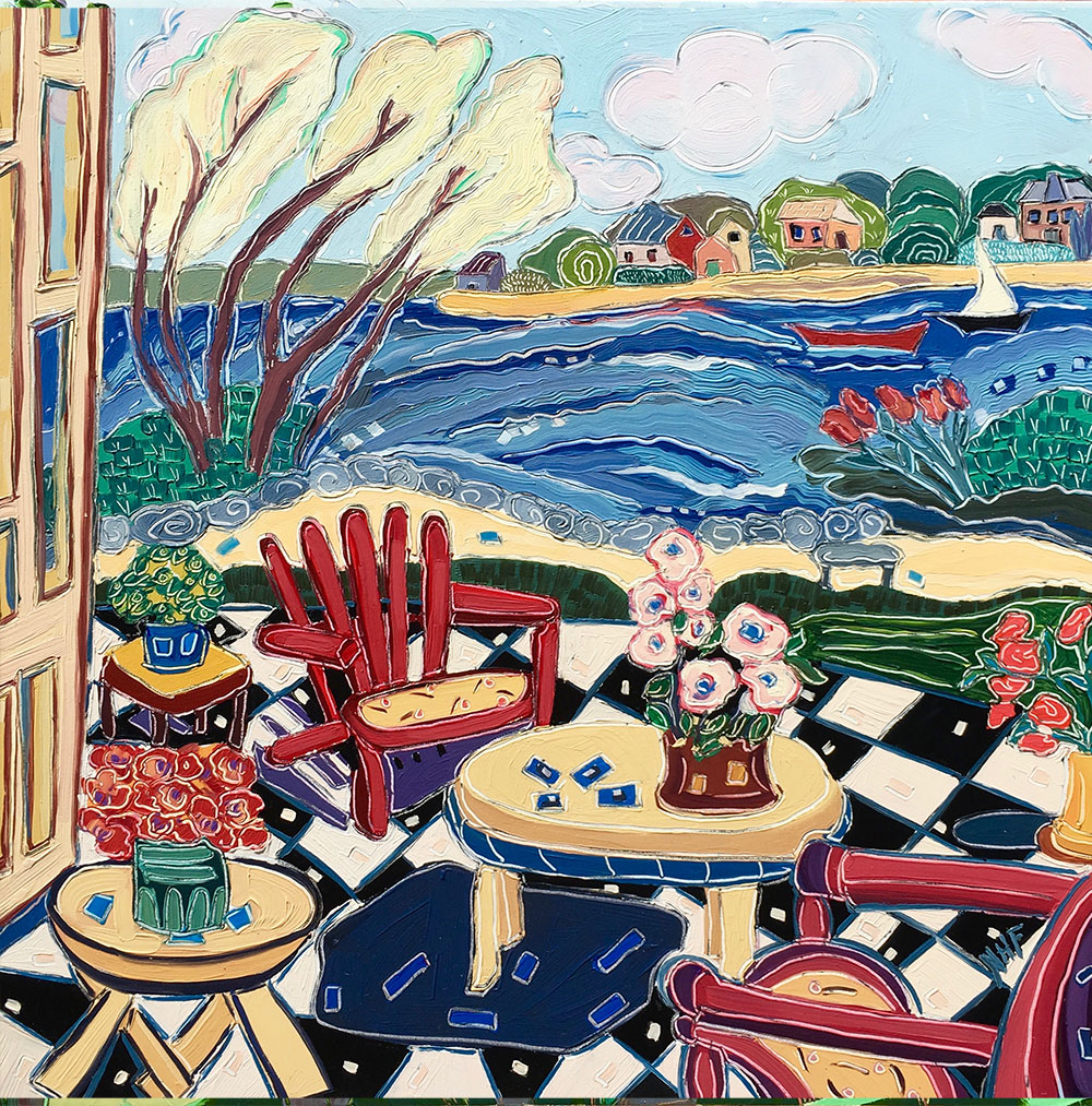 checkered patio, colorful chairs, seascape, porch view, sailboat, fanciful, invitinging