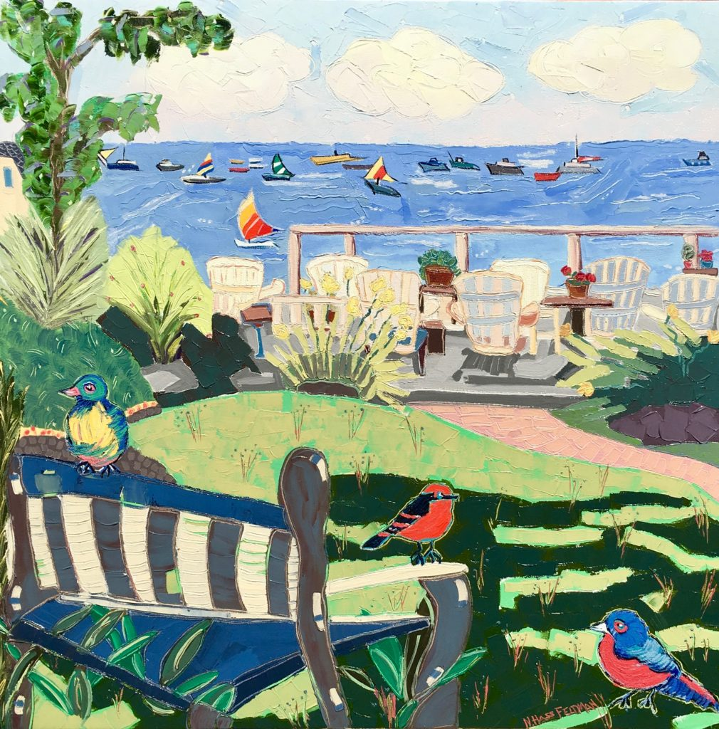 seascape, sailboats, birds, wicker chairs grass and bushes