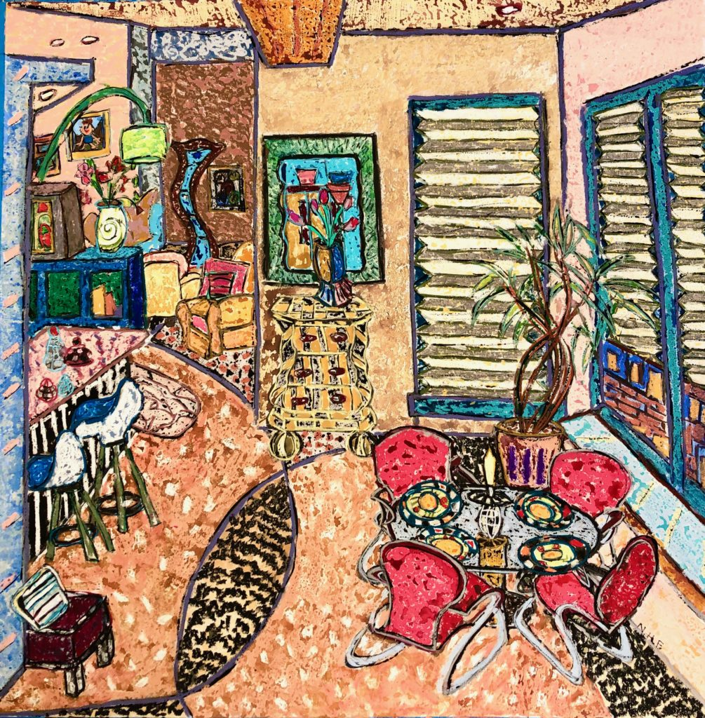 Another mixed-media artwork of funky Boston apartment