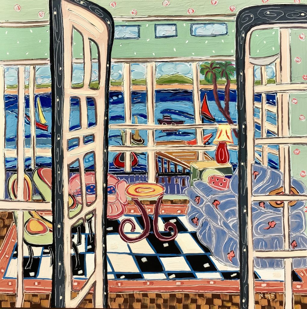 window view, seaside, sailboats, colorful, happy, optimistic, checkered floor, french doors